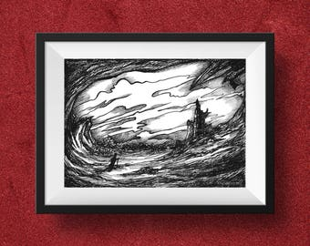 Printable art, Print art, Art Landscape, Illustration, Fantasy print, Print Landscape, Fantasy Art, Digital print, Black and White landscape
