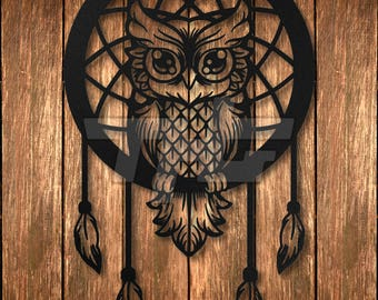 Dreamcatcher Owl Metal Wall Art