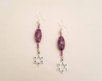 Purim, Purple Textured Bead, Dangling Earrings, With Star Of David  Silver Charm,