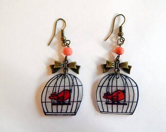 robin in cage earings in bronze metal