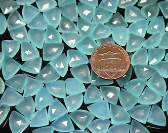 288ct Aqua Chalcedony Fancy Fan Drop Loose Gemstone Craft Beads 112 pcs 10mm 11mm