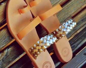Greek leather sandals,Greek handmade leather sandals,Strappy summer sandals,Women gold sandals, ELENI
