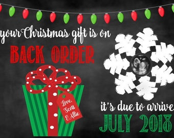 Christmas Backorder Card, Christmas Pregnancy Announcement, Christmas Card, Pregnancy Announcement