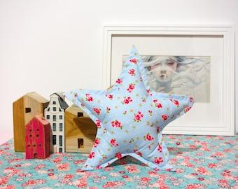Star cushion - Handmade - Blue & Flowers