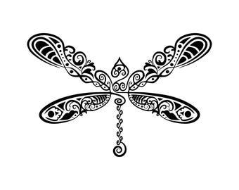 Dragonfly svg Dragonfly mandala svg Zentangle dragonfly svg Digital cutting file svg Cricut dxf DIY Decal files T-shirt design
