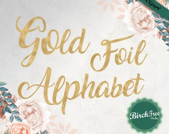 Gold Foil alphabet, gold sparkle letters, gold texture, gold foil font, instant download, transparent background