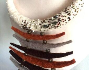 Handmade merino wool felted necklace, Ожерелье ручной работы из мериносовой шерсти
