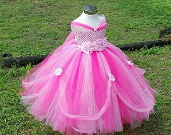 Girls princess dress, birthday dress, baby girl, pink tutu, Disney princess dress, flower girl, baby costume,pink dress, 1st birthday, girls