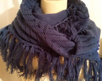 Large cowl made of cotton and acrylic color blue