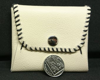 Handmade white leather coin purse