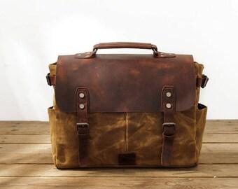 Waxed Canvas bag/Waterproof shoulder bag/Heavy Duty Canvas Bag/Canvas Messenger Bag/Canvas Satchel Bag/Canvas Travel Bag