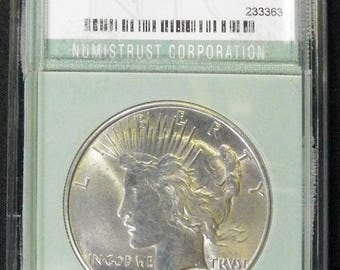 1934 Peace Silver Dollar, Gem Uncirculated in Holder