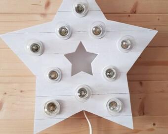 Wooden Star lamp kids room bedroom light Scandinavian lamp night light