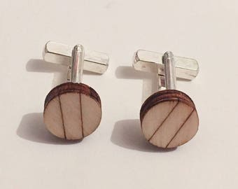 spotlessly small, wooden cufflinks