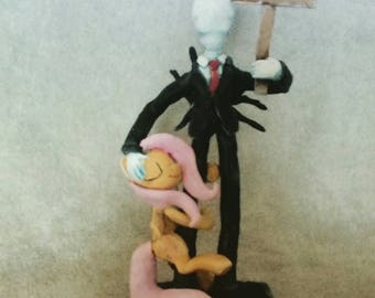 My Little Pony MLP fanart! Fluttershy hugging Slenderman - brushable-scale sculpt!