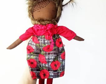 """RENEGADE RUBY! One-of-a-kind, Handmade, 18"""" Heirloom Ragdoll--Perfect children's gift or nursery room decor!"""