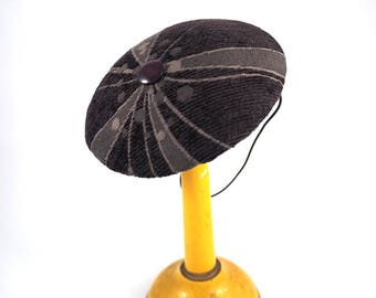 Round fascinator purple and gray velvet fabric