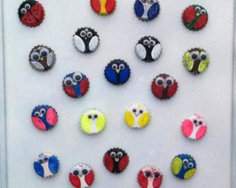 Silly birds with wiggly eyes. Strong rare earth magnets hand crafted with bottle caps.