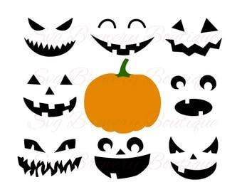 Pumpkin faces, Halloween, jack o lantern, SVG (layered), PNG, DXF, for cricut, silhouette studio, cut file, vinyl decal, t shirt design
