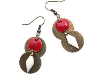 Bronze earrings, red, white sequins and bronze metal ♦ earrings red white