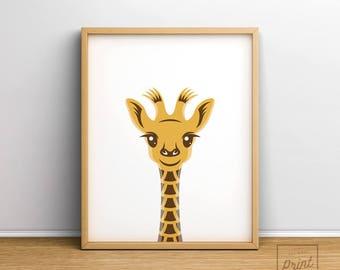 Giraffe print, Printable art, Safari nursery art, Safari nursery decor, Baby giraffe print, Safari animals wall art, Nursery wall art