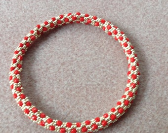 Bangle made with 3mm Czech firepolish and Japanese seed beads