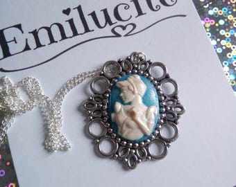 Cinderella Inspired Pearlised Cameo Pendant