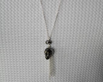 Necklace in 925 sterling silver mesh Belcher, skull silver night swarovski crystal and 925 Silver tassel