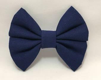 Navy - Fabric Barrette Bow