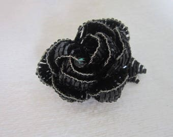 Beautiful Glass Beaded Large Black Rose Brooch