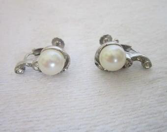 Vintage Rhinestone & Faux Pearl Curvy Screw Back Clip on Earrings