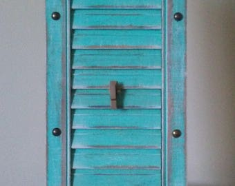 Turquoise Shutter Photo Frame Holds 2- 4x6 Photos