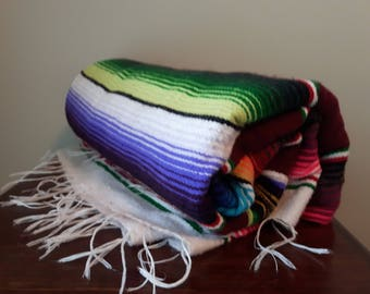 Bright Mexican Blanket, Serape Blanket, Perfect throw for the couch or car