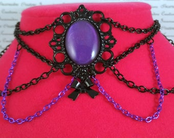Handpainted purple stone and black and purple chain choker bow necklace gothic victorian