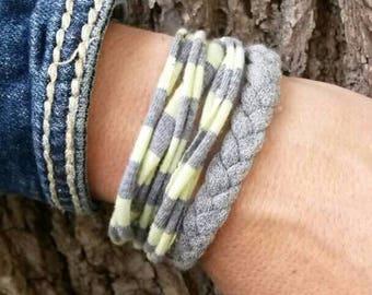 T-shirt bracelet - Fabric bracelets - stacking bracelets - Upcycled - Recycled Jewelry - 2 piece set - upcycled tee shirt