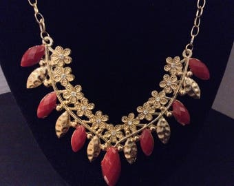 Mar Y Sol Accessories Red and Gold Necklace New