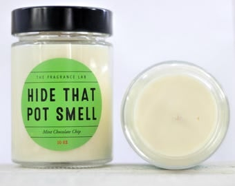 Pot Marijuana Soy Candle - Mint Chocolate Scented | Weed gifts | Stoner Gift | Boyfriend gift ideas | gifts for potheads | 420 | Cannabis