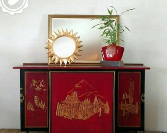 Mid Century  Lacquered Asian folding dry bar liquor wine cabinet mobile sideboard buffet