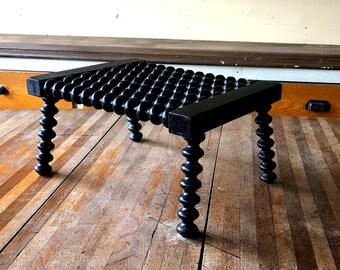 Black Step Stool, Antique Victorian Era Furniture, Ebonized Hardwood, Handmade Craftsmanship, Modern Farmhouse Decor