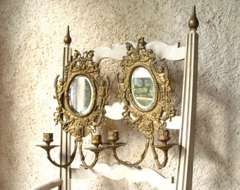Pair of 19th century wall sconces with mirror, French.