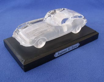 Jaguar E Type Glass Crystal Model Paperweight Gift