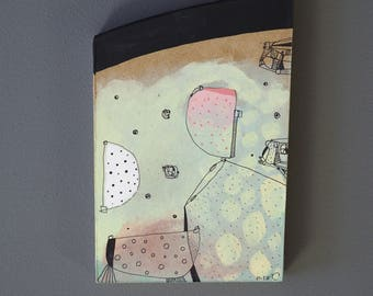 Hardboard placemats, painting, art brut