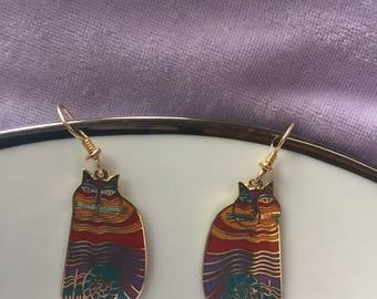 Rainbow cats enamel Laurel Burch signed dangle/ drop earrings ..