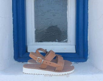 Greek leather girls sandals. Gladiators, handmade sandals, made in Greece, girls shoes, kids shoes, real leather, buckle sandals, summer