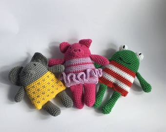 Crochet rattle: Elephant/Big/Frog