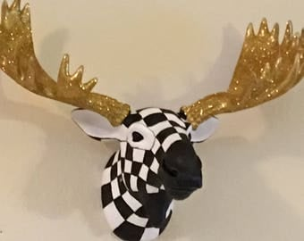 Black and white checkered moose head