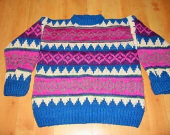 WOOL FAIR ISLE Sweater / Handknit / Handmade / Chunky / Bulky / Crewneck / Pullover / Womens / Mens / Boys / Girls / Teen /Vintage/ Blue