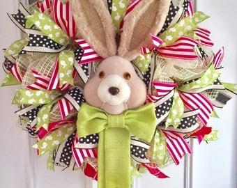Easter Wreath, Easter Bunny Wreath, Deco Mesh Wreath, Spring wreath