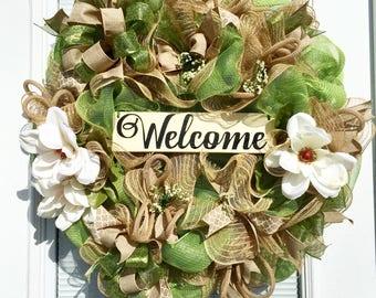 Spring Welcome Wreath, Deco Mesh Wreath, Summer Wreath, Welcome Wreath