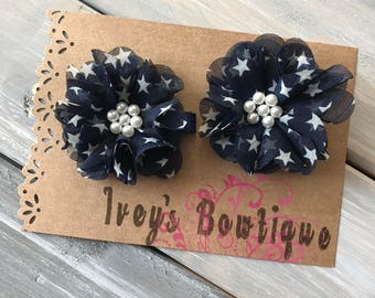 Navy and white star 4th of july flower hair clips